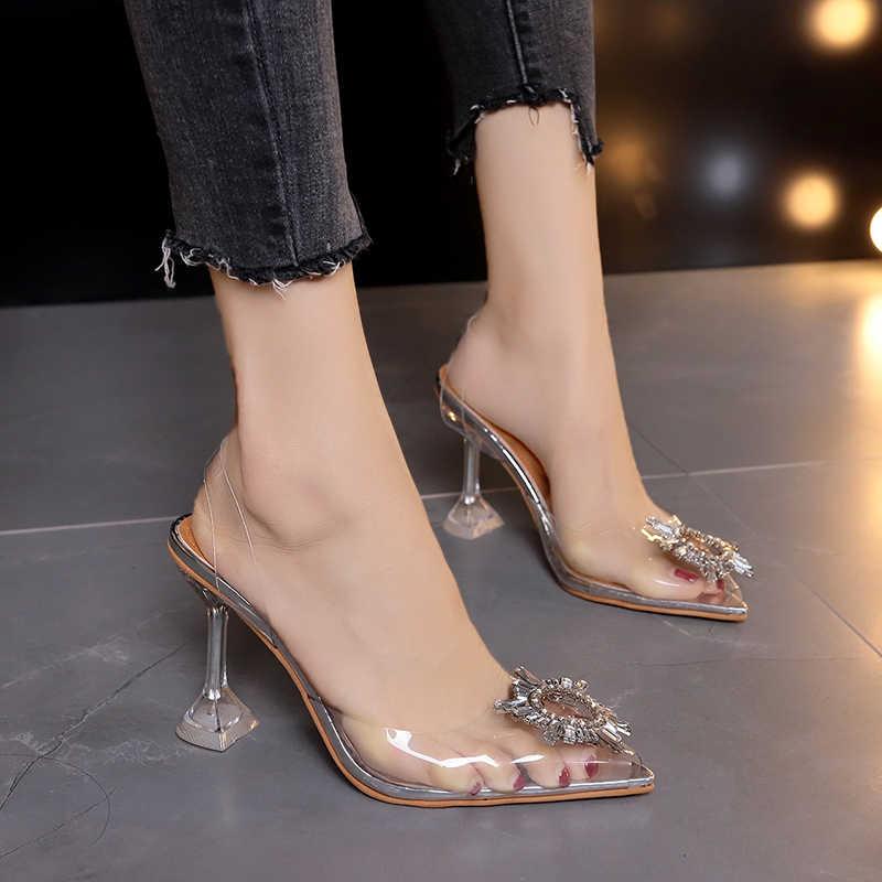 Lüks kadın pompaları 2019 şeffaf yüksek topuklar seksi sivri burun Slip-on düğün parti marka moda ayakkabılar bayan için ince topuklu