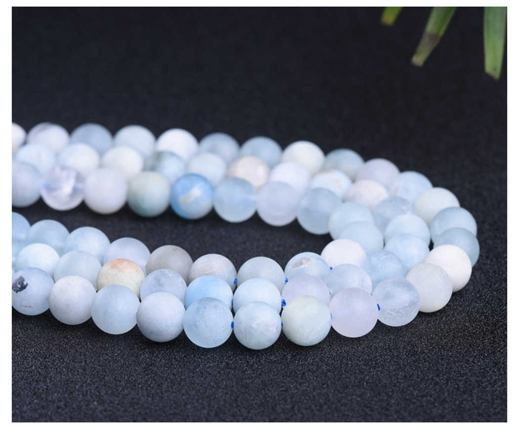 Natural Aquamarine 4-10mm round Gemstone beads  for 925 sterling silver Jewelry Making  Necklace Bracelet 15inch ICNWAY