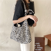 Bolso de lona con estampado de leopardo para mujer, bandolera de gran capacidad, bolso de hombro tipo shopper Vintage para estudiantes y niñas