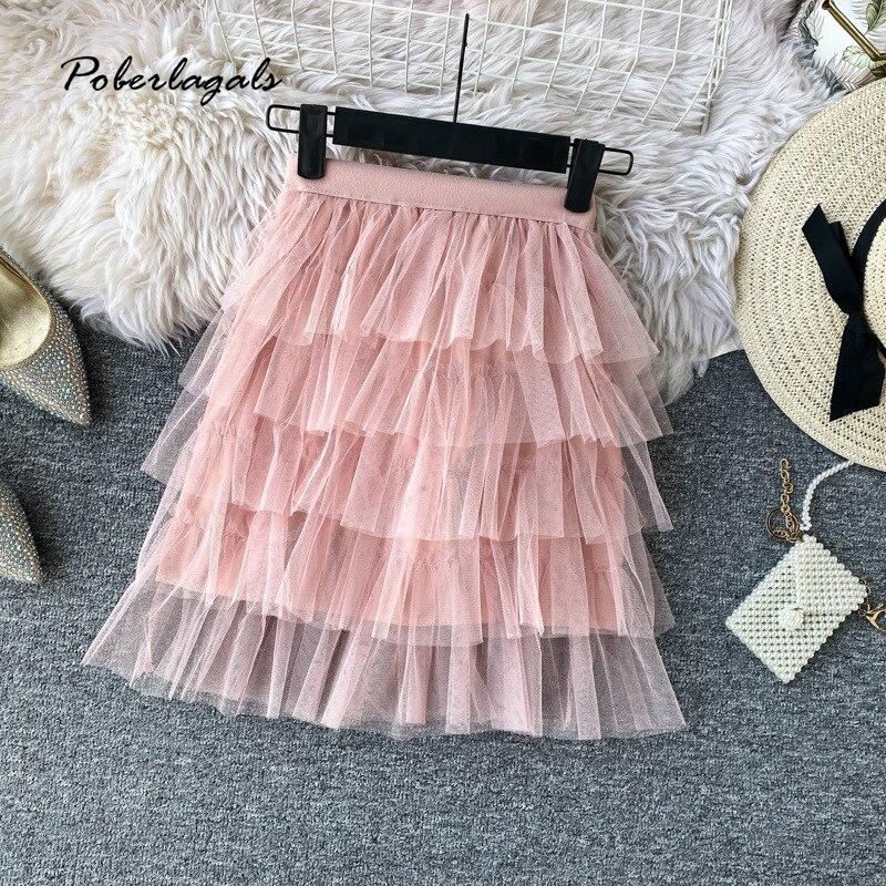 Summer Women Vintage Elegant Gauze Mesh Mini Skirt 2020 Korean Wild High Waist Pleated Cake Ruffles Skirts Womens Skirts Female