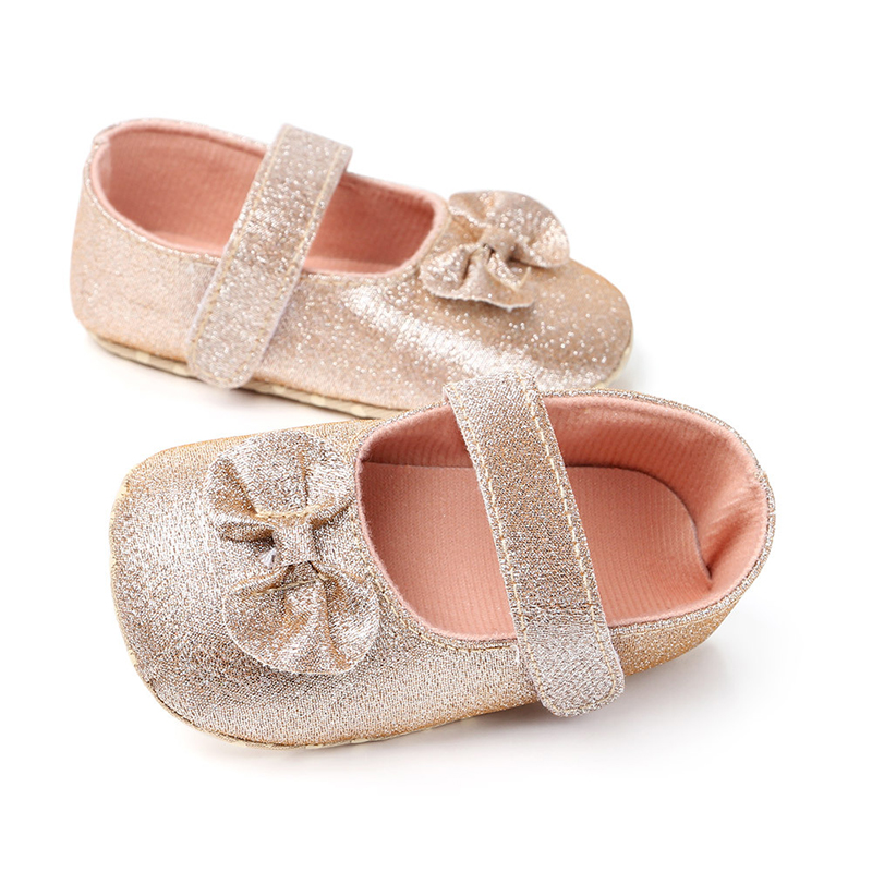 Newborn Baby Shoes Girls 2019 Infant Toddler Rose Gold Shoe Babies Walking Bowknot Baby Girls Shoes
