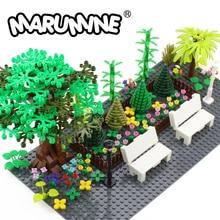 Marumine MOC Baum Anlage Zubehör Teile Bausteine Kompatibel Blume Grün Gras Bush Blatt Dschungel Garten Set Stadt Ziegel