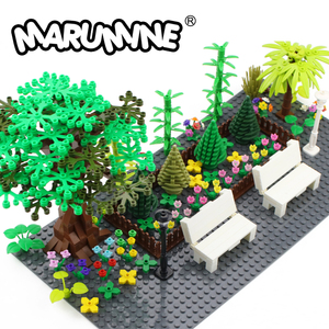 Image 1 - Marumine MOC Baum Anlage Zubehör Teile Bausteine Kompatibel Blume Grün Gras Bush Blatt Dschungel Garten Set Stadt Ziegel
