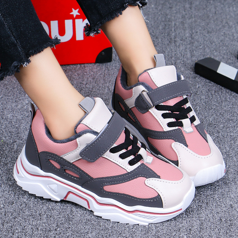 ULKNN Kids Winter Warm Sneakers 2019 New Girls And Boys Sports Shoes Winter Breathable Soft-soled Casual Shoes Children's Shoes