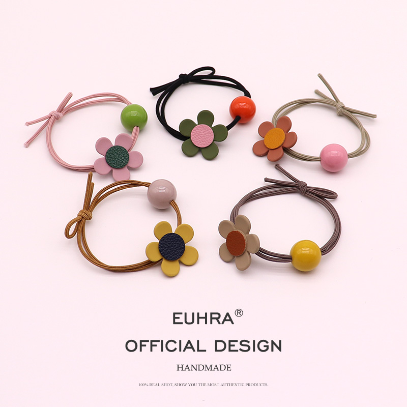EUHRA 5 Colors Petal Flower Floral Elastic Hair Bands High Elasticity Women Girls Hairband Children Hair Accessories Rubber Band