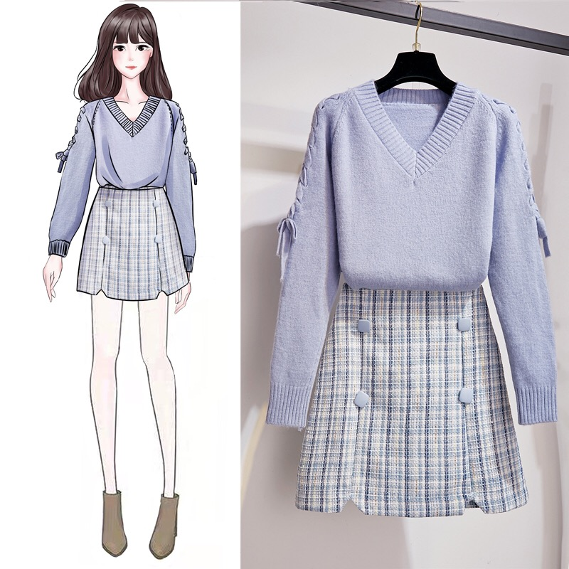 Plaid Mini Skirt Set Korean Style Women 2 Piece Set Girl Student Casual Sweet 2 Piece Outfits Femme Winter Sweater Set