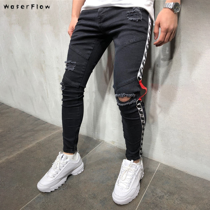 2019 Knee Hole Side Zipper Slim Distressed   Jeans   Men Ripped tore up streetwear For Men slim stripe pants