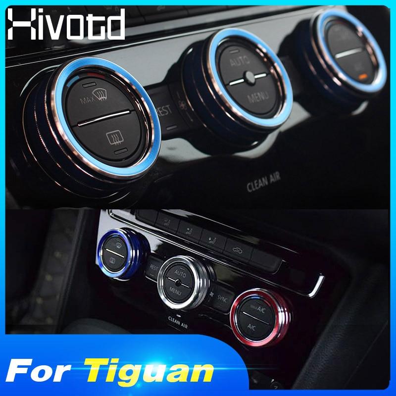 Hivotd Für VW Tiguan mk2 2019 Zubehör Aluminium legierung Zentrale Steuerung Klimaanlage Volumen Knob Ring Abdeckung Trim Auto styling