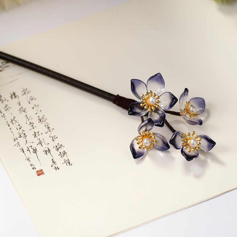 Chinese Classical Women Princess Hairpin Pearl Jasmine Flower Shape