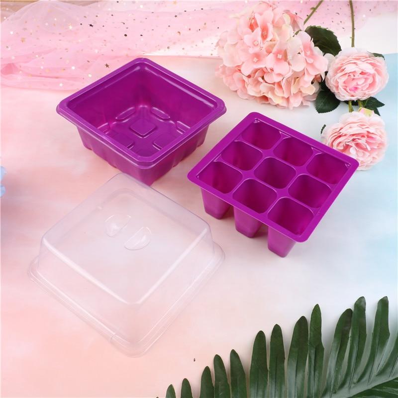 9 Holes Plant Seed Grow Box Plastic Flower Pots Plant Seedling Tray Succulent flower Pot Garden Nursery flower Pot