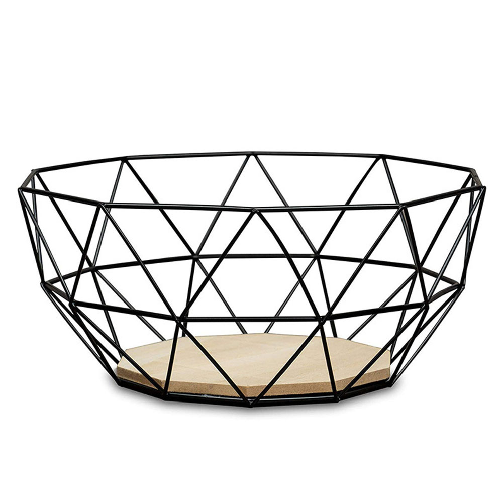 Wood Base Simple Storage Basket Table Modern  Out Dining Decorative Durable Practical Home Iron Wire Bowl Design Fruits