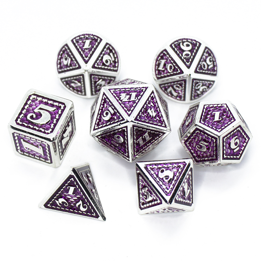 2020 New DnD <font><b>Metal</b></font> Dice RPG MTG Dice Include Dice Pouch A Variety of Colors D4 D6 D8 D10 D12 <font><b>D20</b></font> Dragon scale style <font><b>metal</b></font> dice image