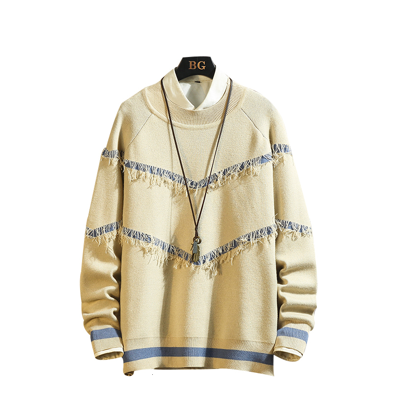UUYUK Men Casual Contrast V-Neck Button Up Long Sleeve Knit Cardigans