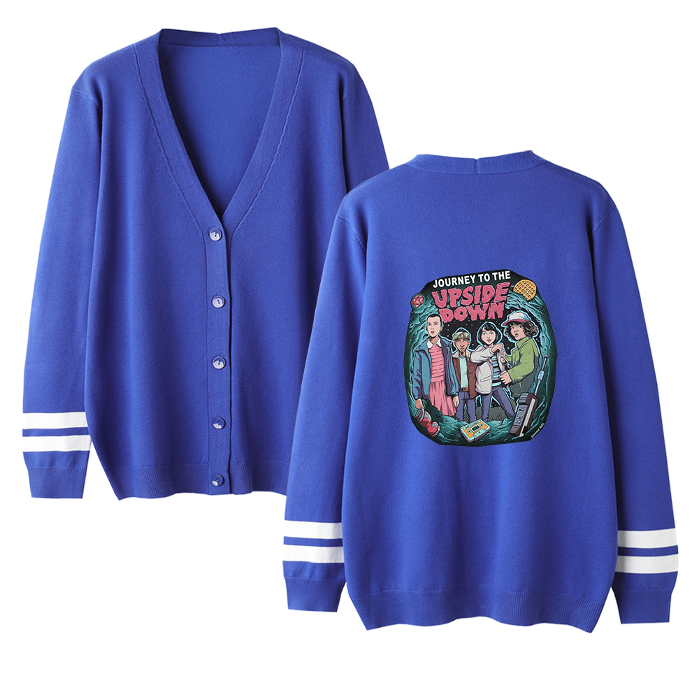 New Cool Stranger Things Cardigan Kpop Sweater Men/women Casual V-neck Sweater Stranger Things Sweater Blue Kid's Casual Tops