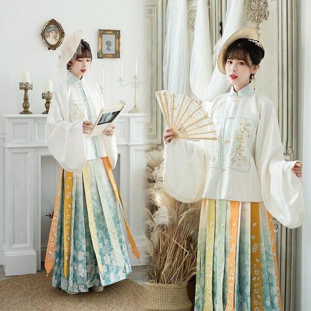 Купить осенний женский комплект в китайском стиле hanfu винтажная вышитая картинки цена