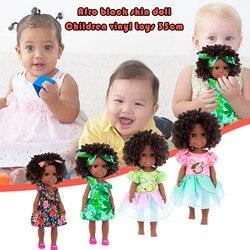 Черные африканские куклы 35 см черные детские милые кудрявые черные игрушки Виниловые Мягкие Детские интерактивные игрушки для дня рождени...