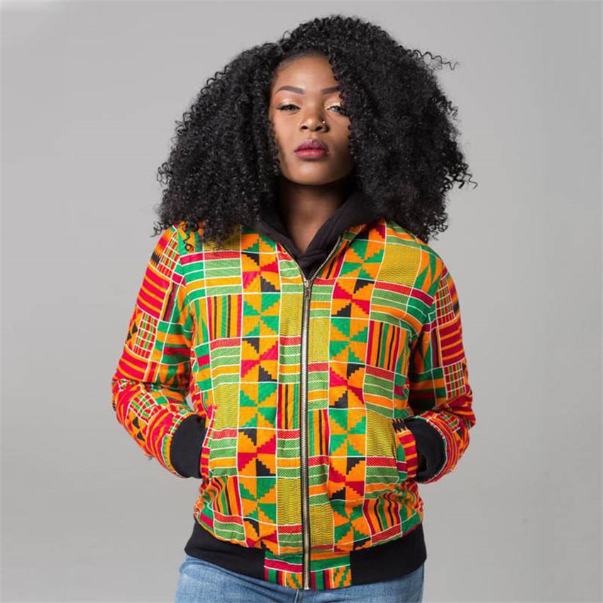 Fashion Coat African Clothes Dashiki Print 2019 News Women Tribal Sexy Jacket Ladies Bomber Zip Pocket Sweatshirt Casual Female