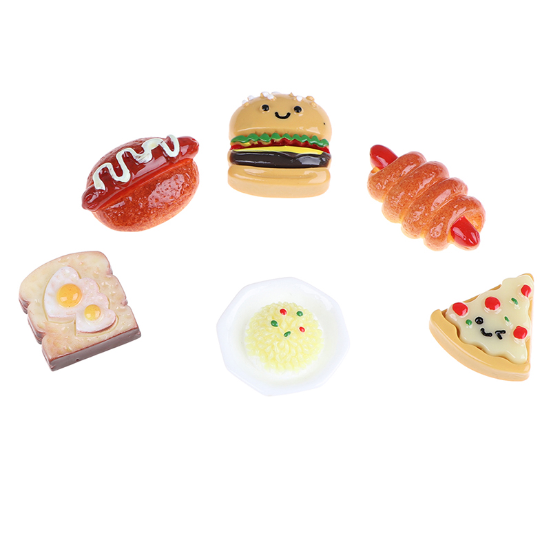 10pcs Mini Resin Food Play Toy Pretend Hotdog Bread Cake Dollhouse Miniature Ornament Decor For Children DIY Home Craft