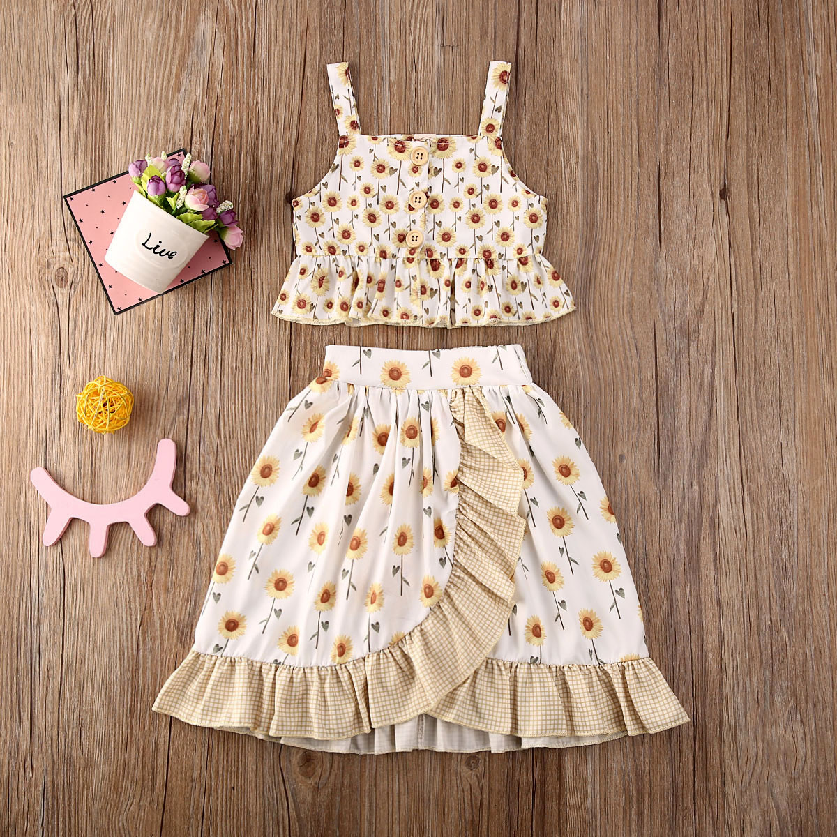Pudcoco Toddler Baby Girl Clothes Sunflower Print Sleeveless Vest Tops Rufffle Skirt 2Pcs Outfits Cotton Clothes Summer Set
