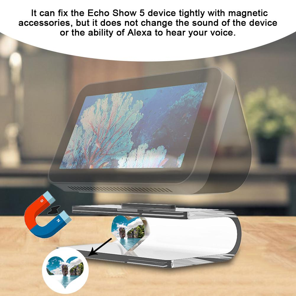 Audio Stand Adjustable Transparent Stand Mount Accessories Fully Acrylic Build Anti-Slip Base Space Saving For Echo Show 5