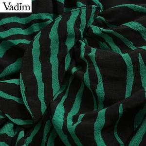 Image 4 - Vadim women chic zebra print mini dress V neck three quarter sleeve side zipper pleated animal pattern wild dresses QC895