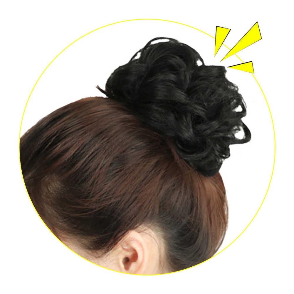 1pcs Paardenstaarten Synthetische Elastische Golvend Krullend Haar Donut Krullend Chignon Stuk Voor Vrouwen Fake Knot Zwart Bruin