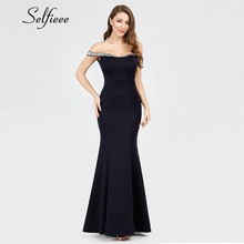 Sequined Vintage Long Women Dresses Mermaid Off The Shoulder Navy Blue New Elegant Summer Maxi Robe Femme2019
