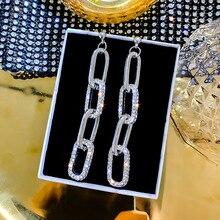 S925 Silver Needle European and American fashion exaggerated earrings Korean temperament geometric square
