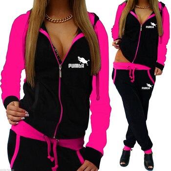 2021 Tracksuit Women 2 Piece Set Zipper Sweatshirt+Pants Sportwear Woman Sports Suit Hooded Hoodies Outfits Female Clothes 1