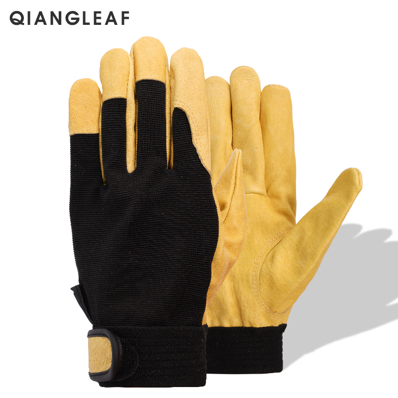 QIANGLEAF Brand New Protection Safety Glove Cowhide Men Yellow Leather Driver Security Protection Racing Moto Work Gloves 508NP