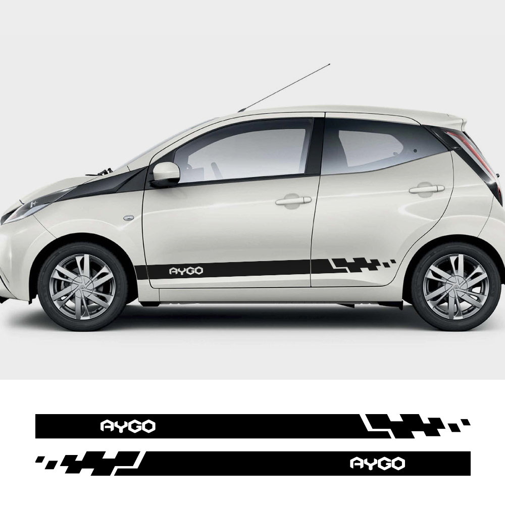 Car Both Side Stickers For Toyota Aygo Auto Vinyl Wrap Racing Stripes Decals Automobiles  Car DIY Styling Tuning Car Accessories