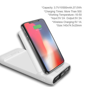 Image 2 - 3 IN 1 10000mAh Qi Wireless Charger Power Bank For Xiaomi Mi iPhone External Battery Wireless Charging Powerbank Phone Holder