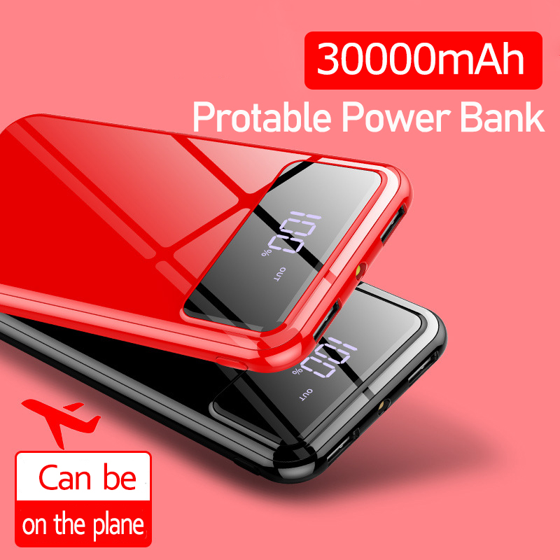 30000mAh Portable Ultra-thin Power Bank External Dual USB Battery Charging LCD Digital Display Battery Charger For Iphone Xiaomi