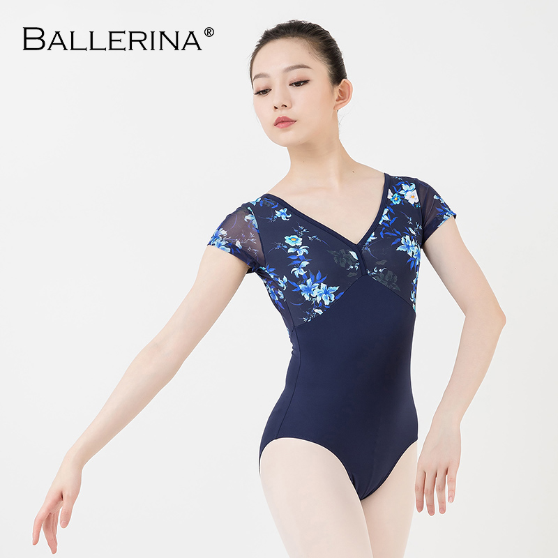 Image 4 - women ballet short sleeve printing leotard adulto Dance Costume short sleeve ballet practice leotard Ballerina 3532Ballet   -