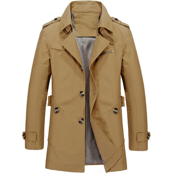 Men's Jacket Slim Fit Spring Autumn Casual Trench Coat Mens Brand Clothing Fashion Coats Male Outerwear 5XL J6T623