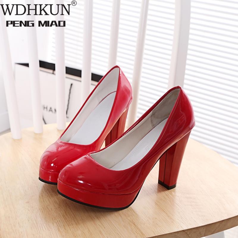 WDHKUN  High Heels Shoes Women White Wedding Shoes Thick High Heels Fashion Party Pumps Footwear Yellow Red Big Size 9 10 41 43