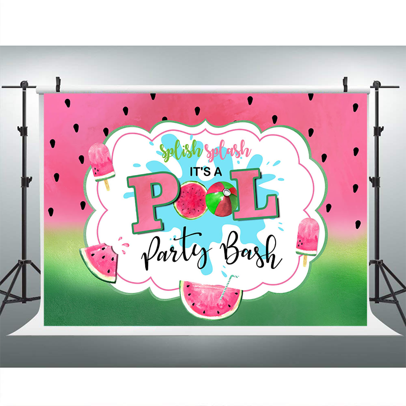 MOCSICKA Watermelon Pool Party Backdrop Red and Green Sweet Celebration Birthday Banner Backdrops Dessert Table Decoration Props