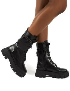 Women Shoes Boots Motorcycle-Boots Lace-Up Platform Leather High-Heel Winter Fashion
