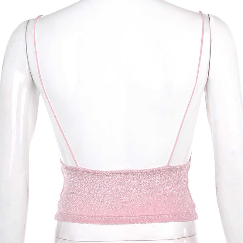 Sweetown 핑크 탱크 탑 Activewear Backless 섹시한 Bralette 자르기 탑 숄더 홀터 탑 피트니스 의류 여름 2020 블랙