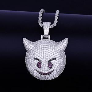 Image 5 - Collier et pendentif, démon Expression maléfique, avec chaîne de Tennis couleur or Zircon brillant, mode Hip hop Rock Street, bijoux