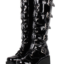 Platform-Shoes Wedges Cos-Boots Angelic Imprint Punk High-Heels Women Motorcycle Mori Girl