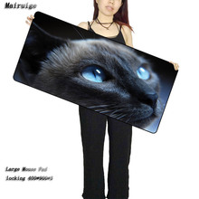 Light Blue Eye Cat Super Large Mouse Pad Natural Rubber Material Waterproof Desk Gaming Mousepad Mats for dota LOL