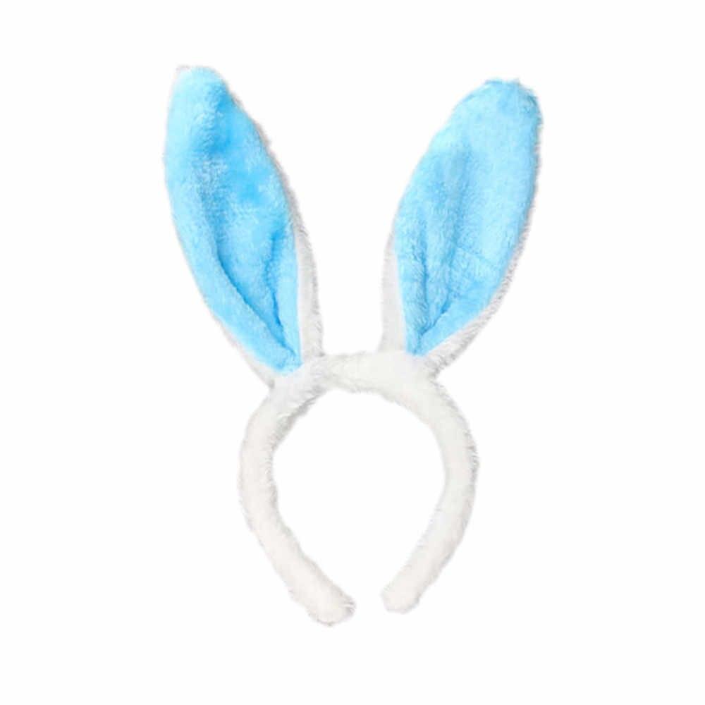 Moda królik uszy z pałąkiem na głowę do włosów dla kobiet jednolity kolor opaska na głowę proste słodkie dziewczyny spinki do włosów z pałąkiem na głowę turban akcesoria do włosów