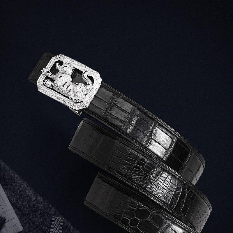 McParko Coccodrillo Cintura Mens Cinture In Pelle Con Fibbia di Lusso Animale di Disegno Del Cuoio Genuino Cinghia di Vita con strass Fibbia - 6