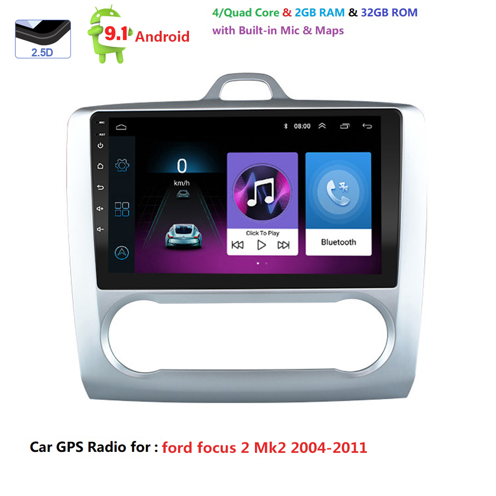 Android 9.1 For <font><b>ford</b></font> <font><b>focus</b></font> 2 <font><b>Mk2</b></font> 2004-2011 Car Radio <font><b>Multimedia</b></font> Video Player Navigation GPS 2 din Quad-core Touchscreen no dvd image