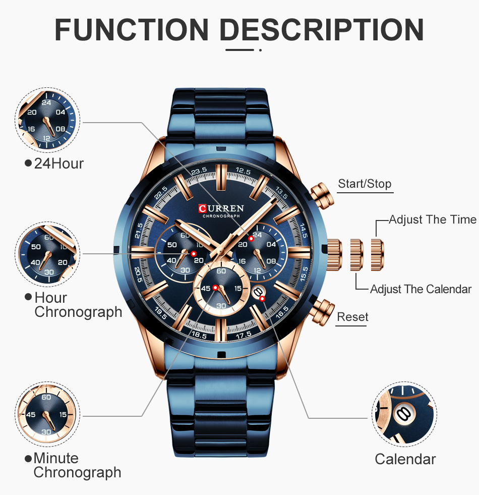 H1618653fd6f54967ad4cce7a6bad9b2a0 CURREN Men Watch Top Brand Luxury Sports Quartz Mens Watches Full Steel Waterproof Chronograph Wristwatch Men Relogio Masculino