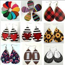 New Teardrop Leather Dangle Earrings for Women Girls Statement Druzy Flower Drop Dangling Earring