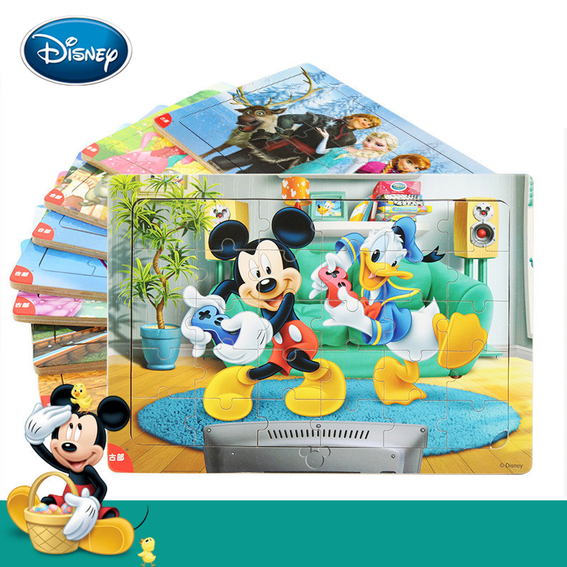 Disney Kids Mickey Cartoon 30 Pieces Of Wooden Frame Puzzle Early Childhood Educational Toys Children Puzzle Gift