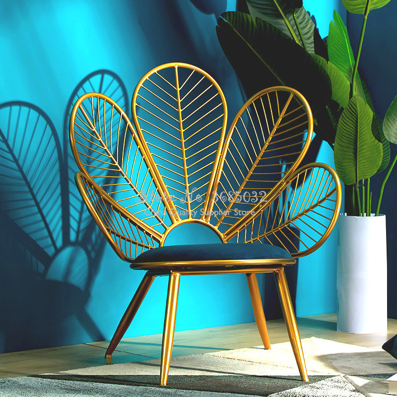 Peacock Shape Golden Iron Sofa Leisure Chair Bedroom Combination Furniture Living Room Set China Free Shipping  Modern Furniture
