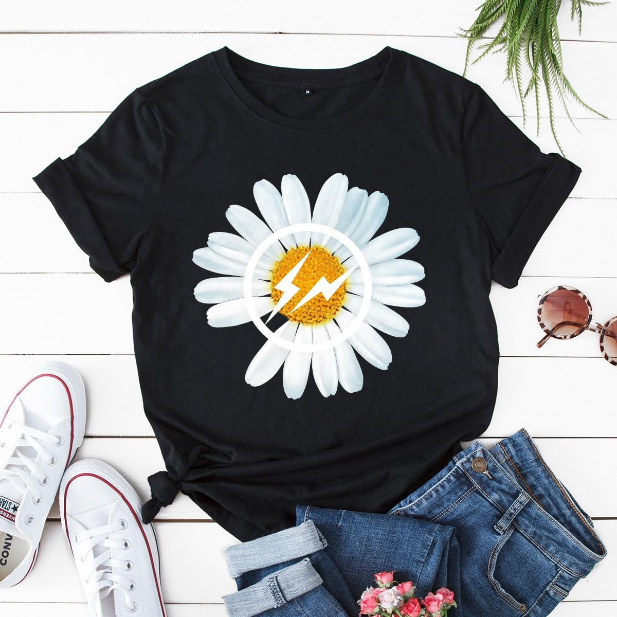 100% Cotton Chrysanthemum Printing Women T-shirt Summer Fashion Tops Large Size Kawaii Print T Shirt Pink New